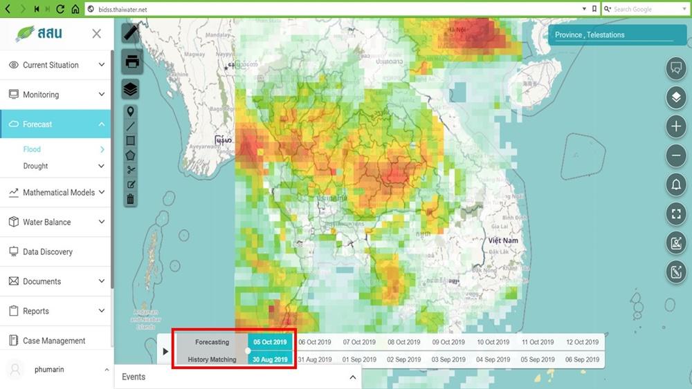 ตัวอย่างภาพจากการคำนวณหาเปอร์เซ็นต์ความเหมือนของอุณหภูมิผิวน้ำทะเล (Sea Surface Temperature) เพื่อใช้ประเมินความแม่นยำการคาดการณ์ปริมาณน้ำฝน