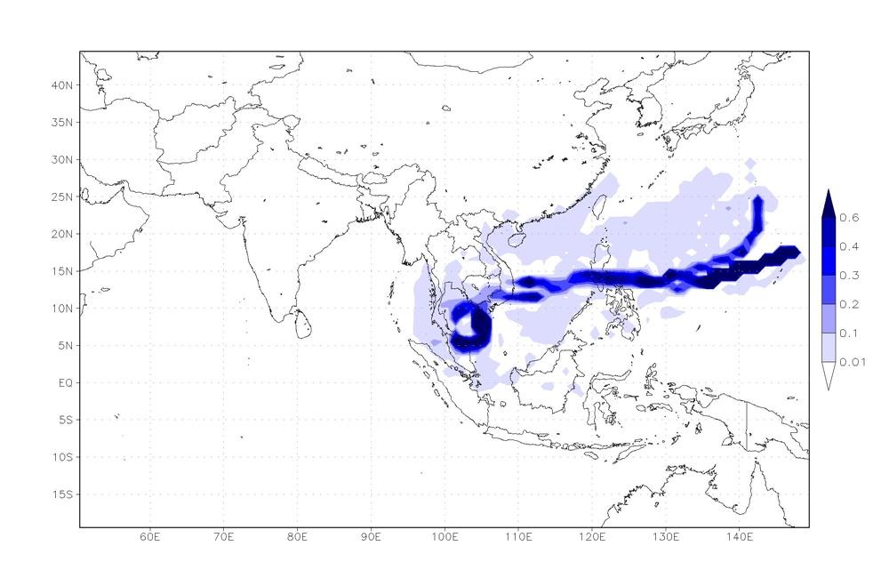 ภาพการติดตามความชื้นในบรรยากาศพายุปาบึก วันที่ 5 มกราคม 2562